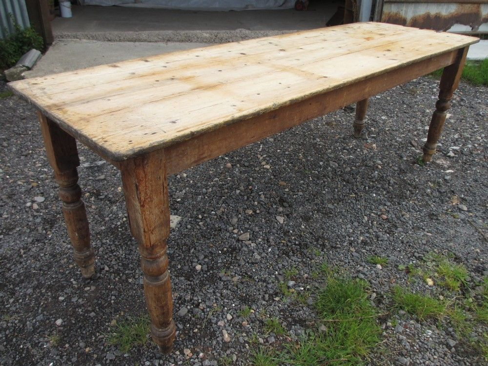 Victorian Long Narrow Plank Top Pine Kitchen Refectory Regarding Rustic Pine Small Dining Tables (Photo 20 of 25)