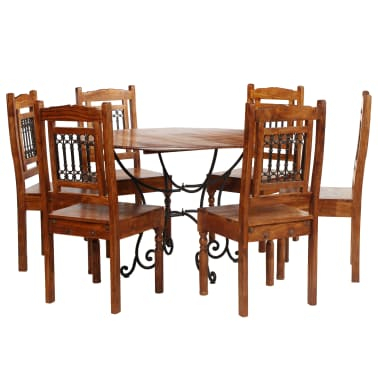 Vidaxl Dining Table Set 7 Piece Solid Acacia Wood With Intended For Unique Acacia Wood Dining Tables (Image 23 of 25)