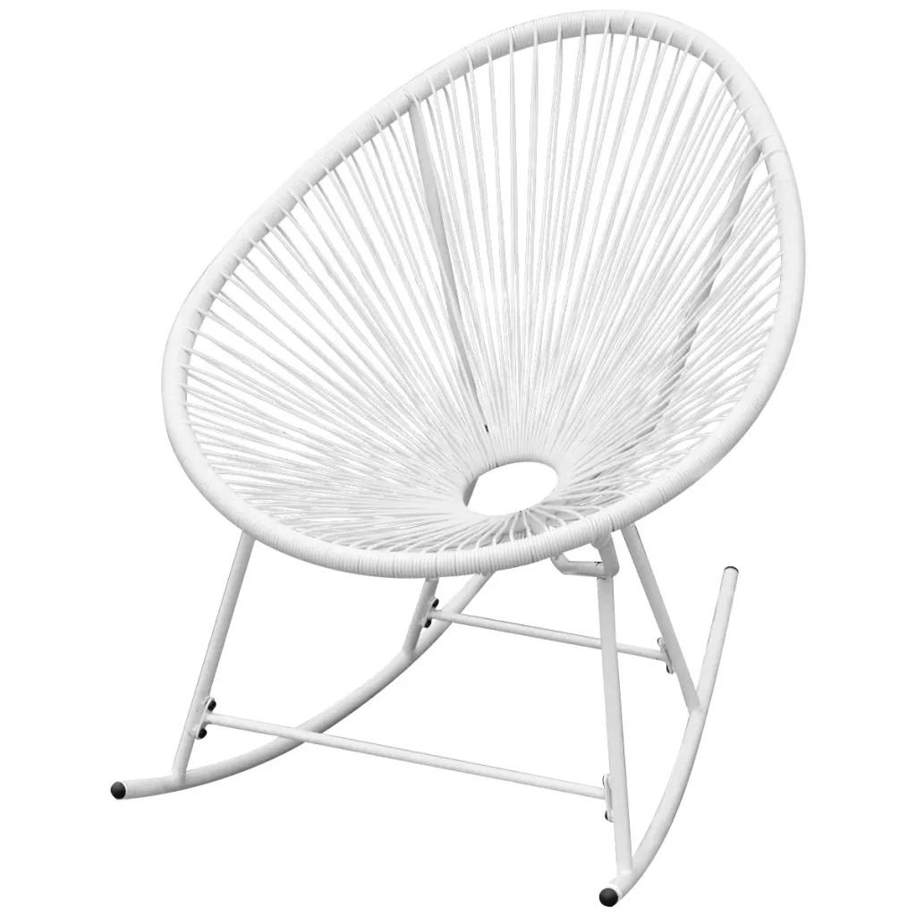 Vidaxl Garden Rocking Chair Poly Rattan White 42074 Pe For Outdoor Swing Glider Chairs With Powder Coated Steel Frame (View 19 of 25)
