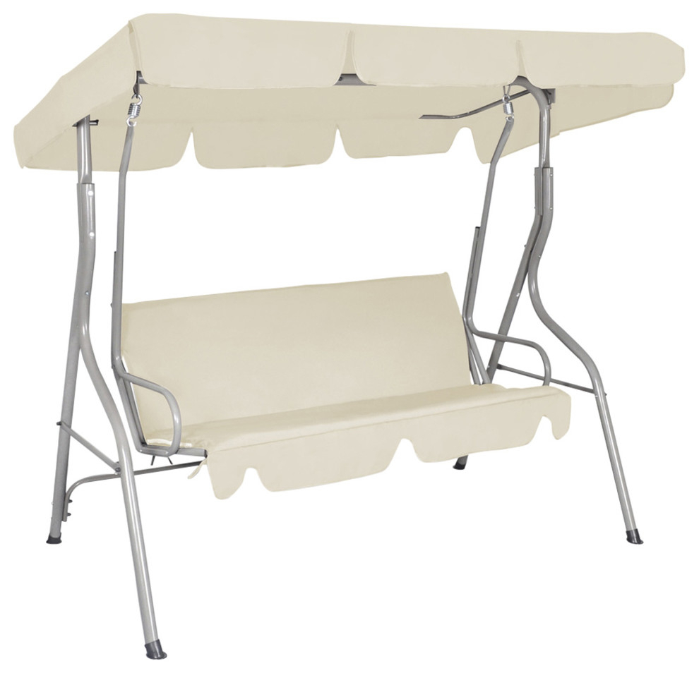 Vidaxl Patio 3 Person Canopy Swing Glider Hammock Backyard Outdoor White With 3 Seats Patio Canopy Swing Gliders Hammock Cushioned Steel Frame (Image 25 of 25)
