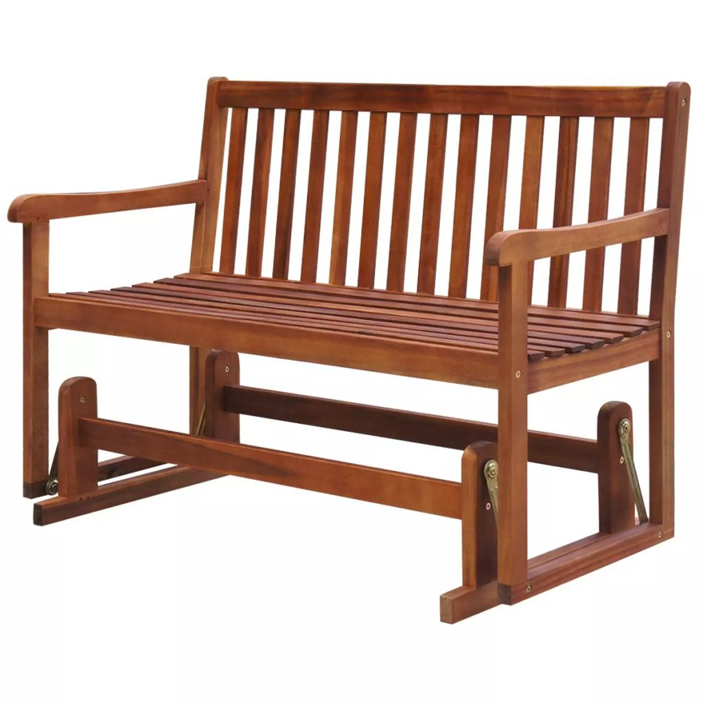Vidaxl Porch Glider/garden Swing Bench Acacia Wood In Patio Throughout Hardwood Porch Glider Benches (View 7 of 25)