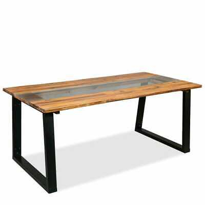 Vidaxl Solid Acacia Wood Dining Table And Glass  (Image 24 of 25)