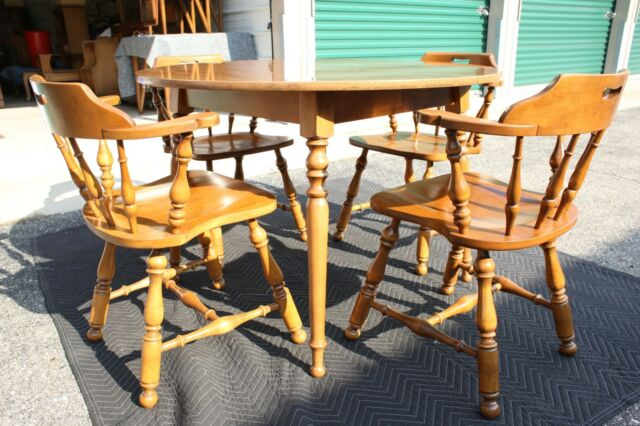 Vintage Ethan Allen Solid Wood Round Dining Table With 4 Chairs Estate Furniture For Round Dining Tables With Glass Top (View 12 of 25)