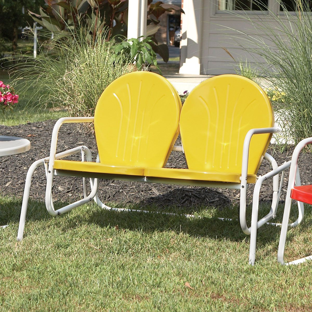 Vintage Metal Chairs Outdoor | Retro Metal Glider Lawn Chair For Metal Retro Glider Benches (Image 21 of 25)