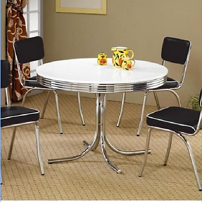 Vintage Metal Dining Table 4 Person Round Kitchen Breakfast Nook Chrome  White 791321233764 | Ebay With 4 Seater Round Wooden Dining Tables With Chrome Legs (View 7 of 25)