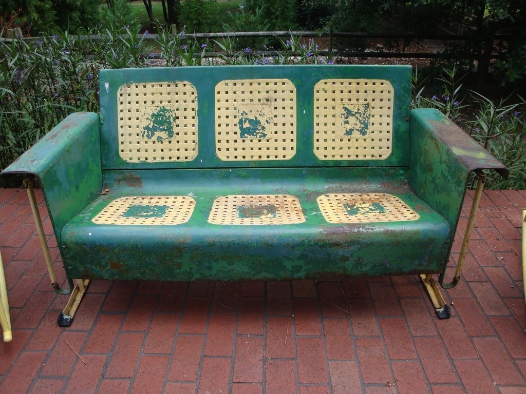 Vintage Metal Porch Glider Chair — Randolph Indoor And Throughout Metal Retro Glider Benches (Photo 25 of 25)