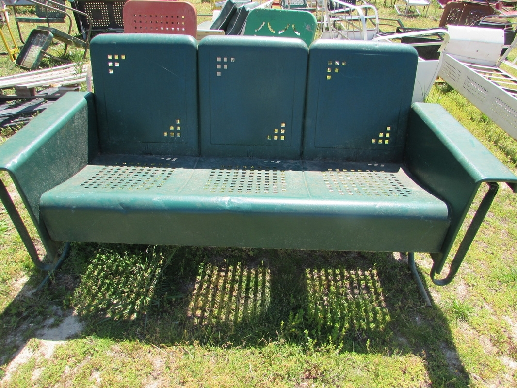 Vintage Metal Porch Glider Cushions — Randolph Indoor And Pertaining To Glider Benches With Cushion (Image 25 of 25)