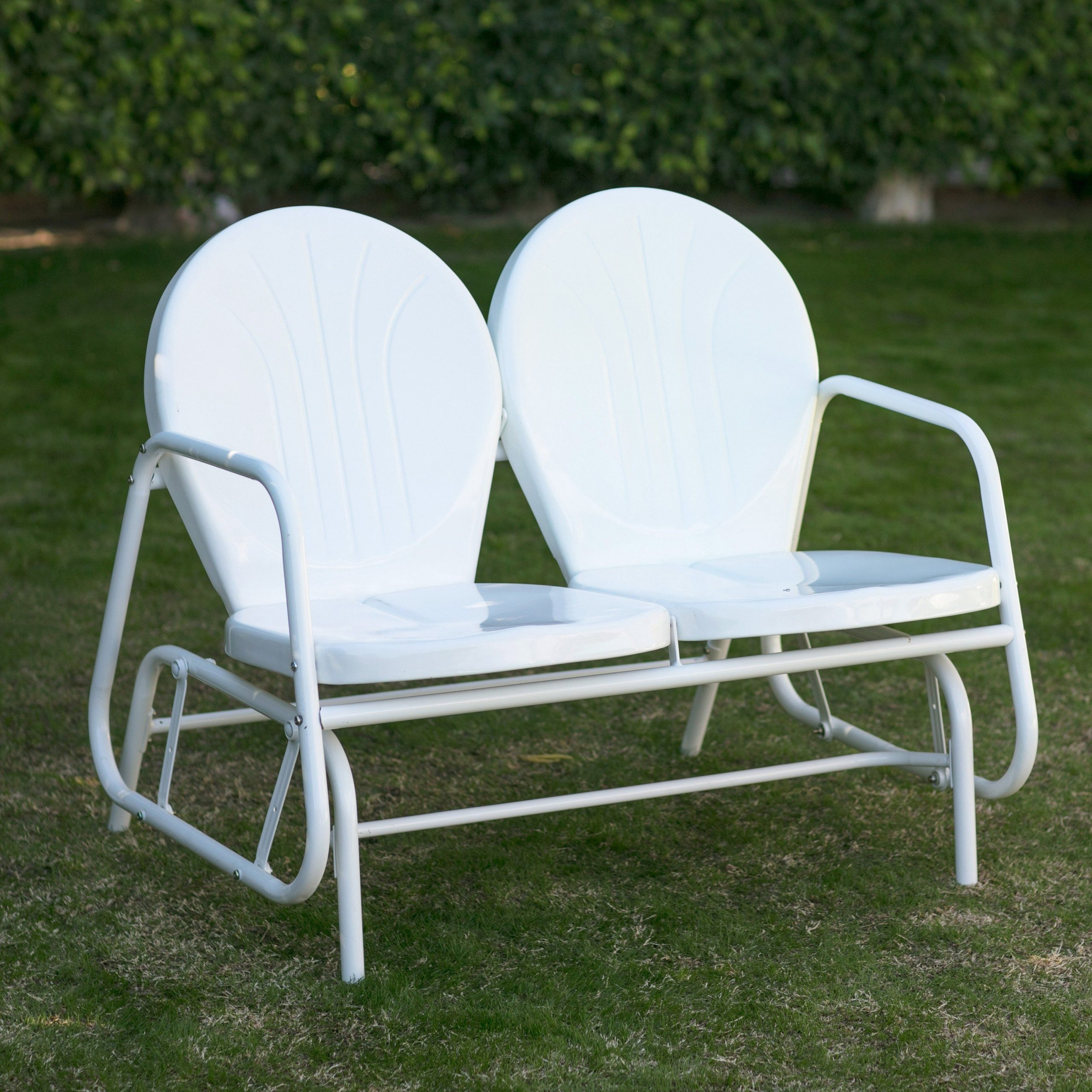 Vintage Metal Porch Glider Deck Chair Pair Yard Patio Within Metal Retro Glider Benches (Image 24 of 25)