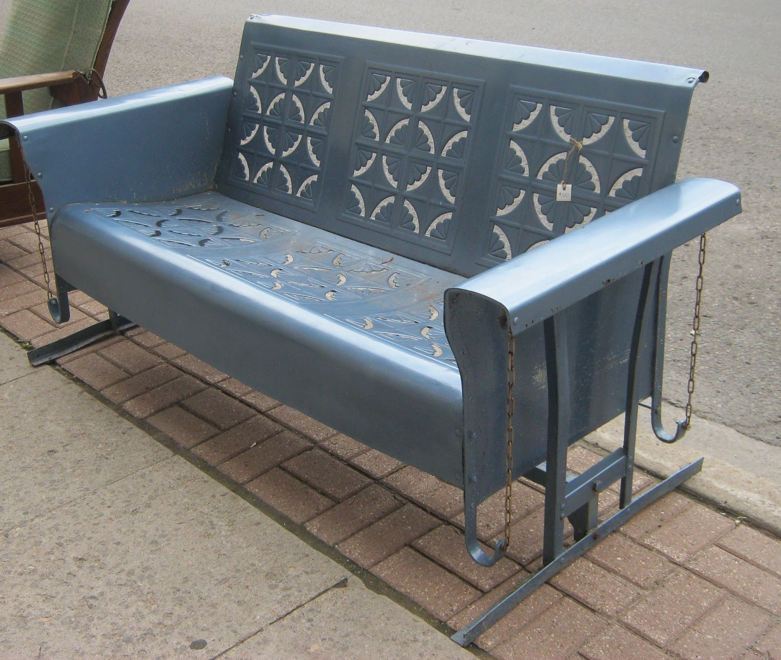 Vintage Metal Porch Glider — Randolph Indoor And Outdoor Design With Regard To Steel Patio Swing Glider Benches (View 7 of 25)