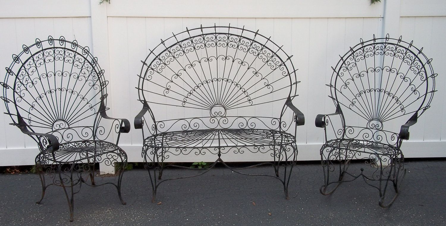 Vintage Victorian Peacock Wrought Iron Lawn Patio Garden Set With Regard To 1 Person Antique Black Iron Outdoor Swings (View 5 of 25)