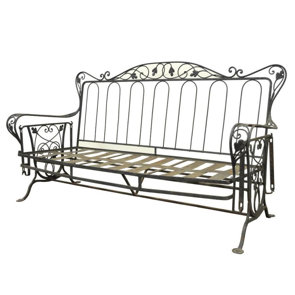 Vintage Wrought Iron Outdoor Patio Glider Swing Sofa Regarding Iron Grove Slatted Glider Benches (View 3 of 26)