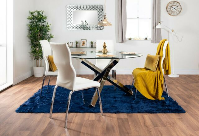 Vogue Large Round Chrome Clear Glass 4 6 Seater Dining Table And Leather  Chairs Regarding 4 Seater Round Wooden Dining Tables With Chrome Legs (View 21 of 25)