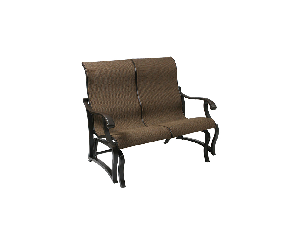 Volare Sling Loveseat Glider – Green Acres Outdoor Living Inside Outdoor Fabric Glider Benches (Photo 22 of 25)
