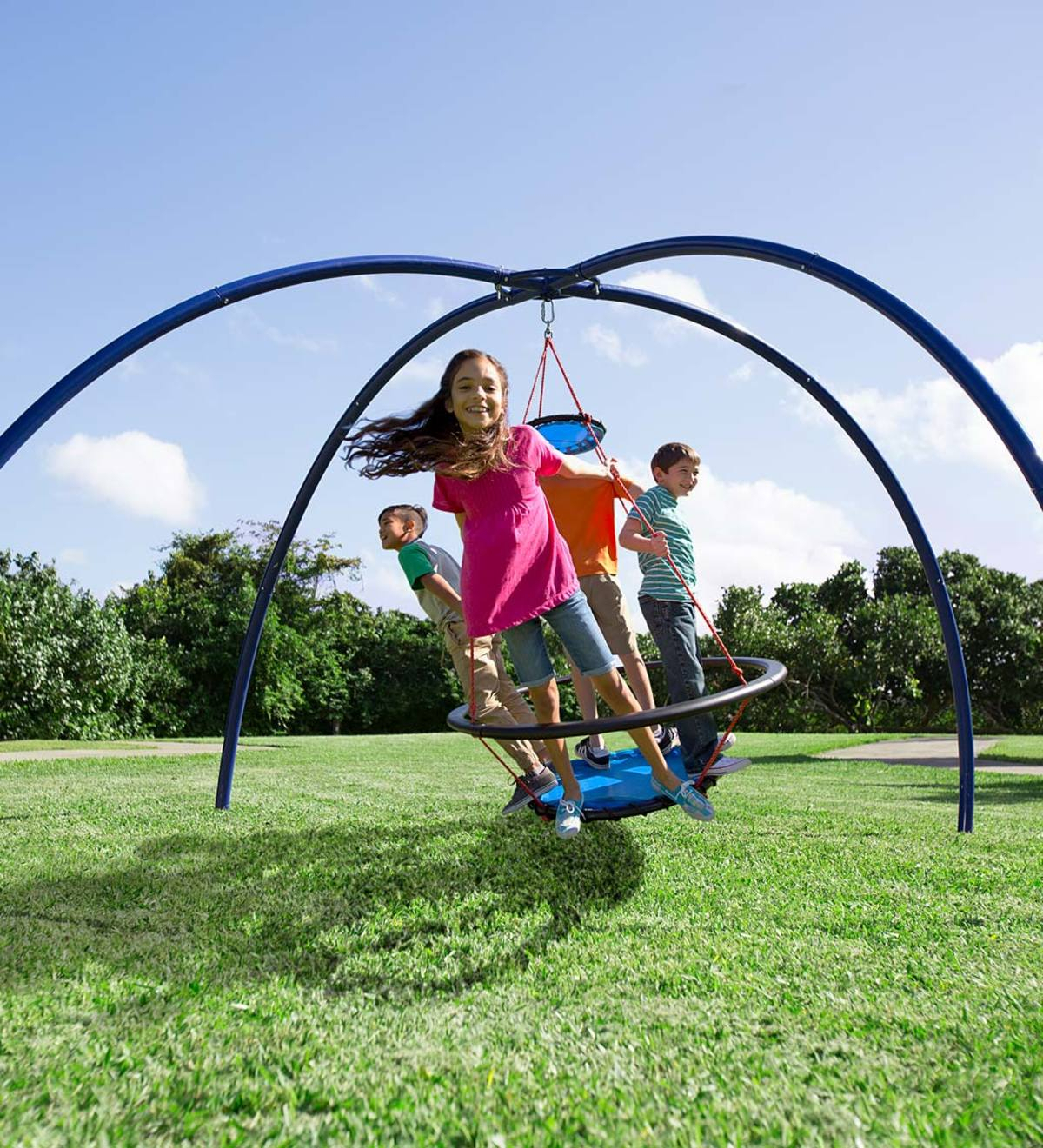 Vortex Spinning Ring Swing And Sky Dome Arched Stand Special With Regard To Dual Rider Glider Swings With Soft Touch Rope (View 25 of 25)