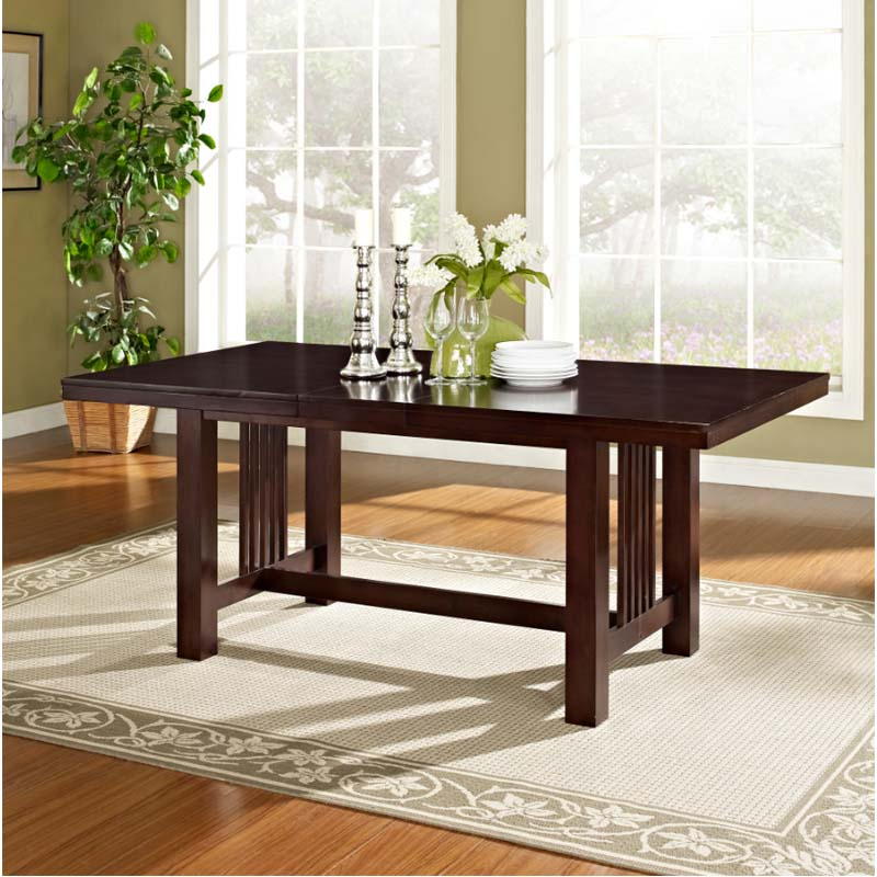 Walker Edison Dining Table With Removable Center Leaf (Cappuccino) Tw60Mcno Regarding Wood Kitchen Dining Tables With Removable Center Leaf (View 4 of 25)