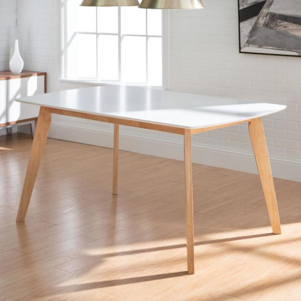 """Walker Edison Furniture Company 60"""" Mid Century Modern Wood Intended For Rustic Mid Century Modern 6 Seating Dining Tables In White And Natural Wood (View 3 of 25)"""