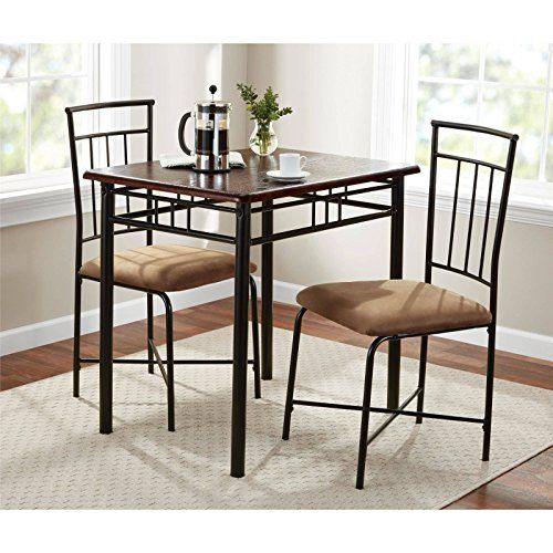 Walnut 3 Piece Dining Table Set Bistro Metal Chairs In 3 Pieces Dining Tables And Chair Set (View 2 of 25)