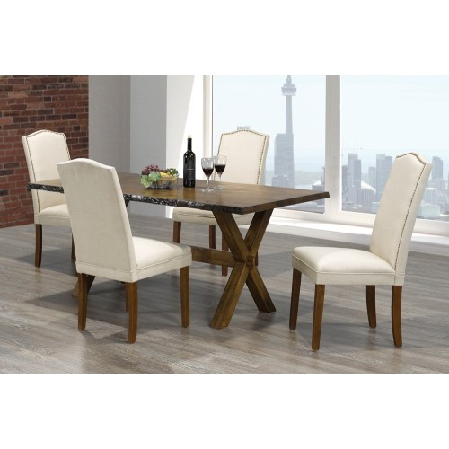 Walnut Finish Live Edge Wood Contemporary Dining Table With Walnut Finish Live Edge Wood Contemporary Dining Tables (Image 25 of 25)