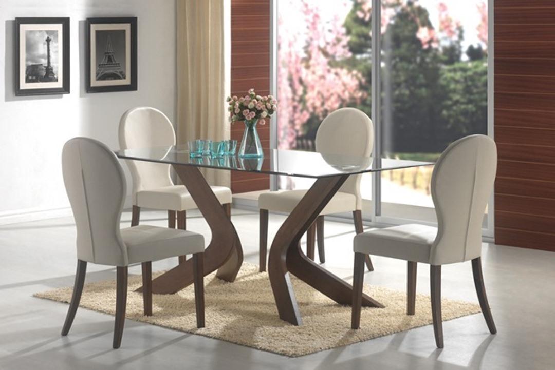 Walnut Rectangular Glass Top Dining Table Set For Rectangular Glasstop Dining Tables (Image 25 of 25)