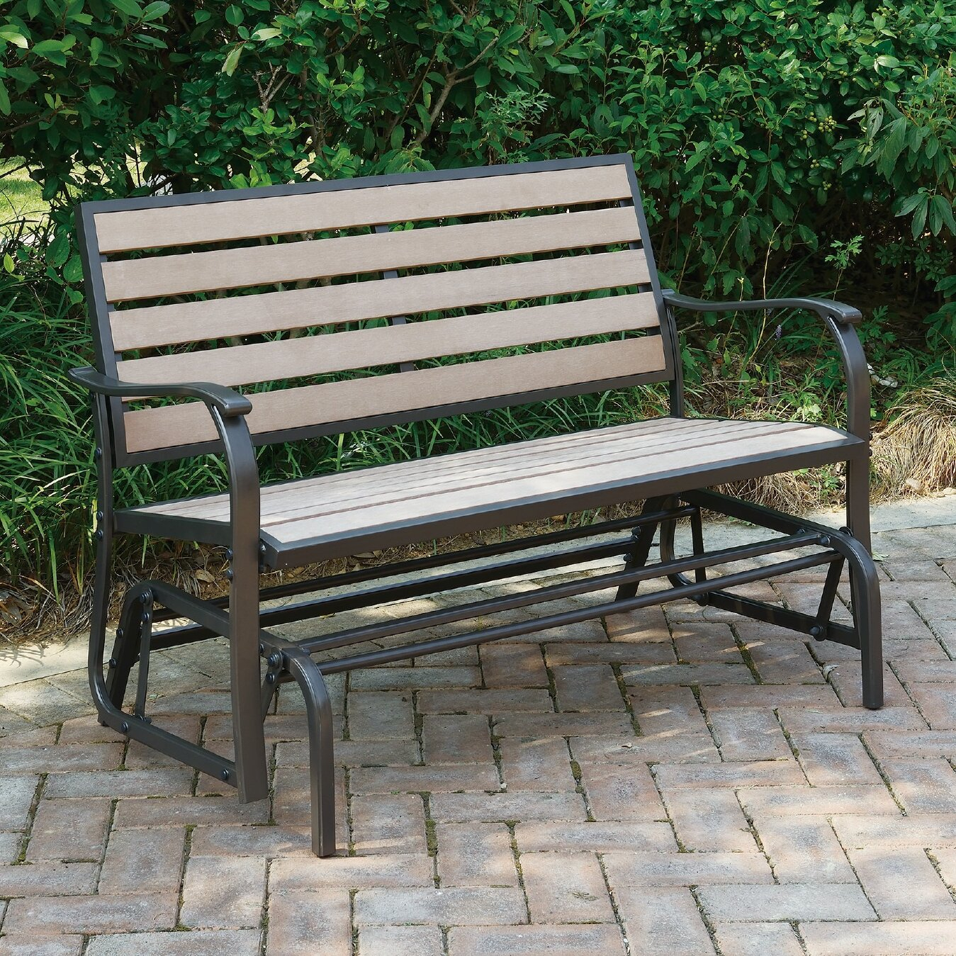 Wayzata Outdoor Glider Bench In Iron Grove Slatted Glider Benches (View 15 of 26)