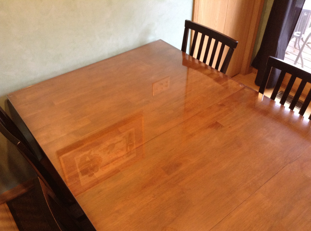 We Put A Glass Top On Our Wooden Kitchen Table – Jill Cataldo In Wood Kitchen Dining Tables With Removable Center Leaf (View 17 of 25)
