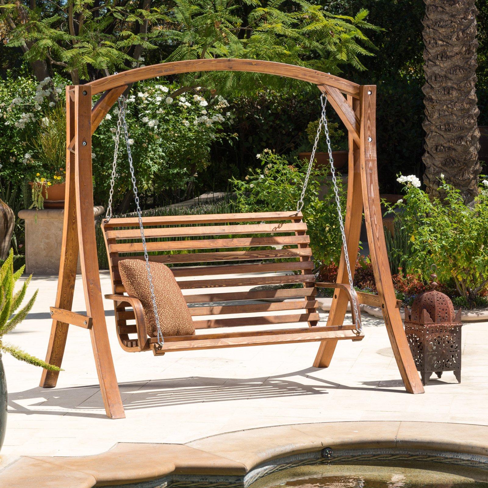 Weyburn Wood Porch Swing – Walmart Within 3 Person Light Teak Oil Wood Outdoor Swings (View 5 of 25)