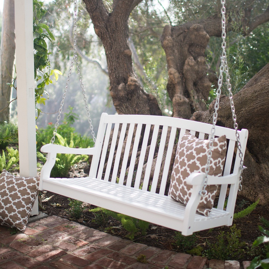 White Patio Swing Set : Outdoor Decorations – Fun Patio Inside Contoured Classic Porch Swings (View 5 of 25)