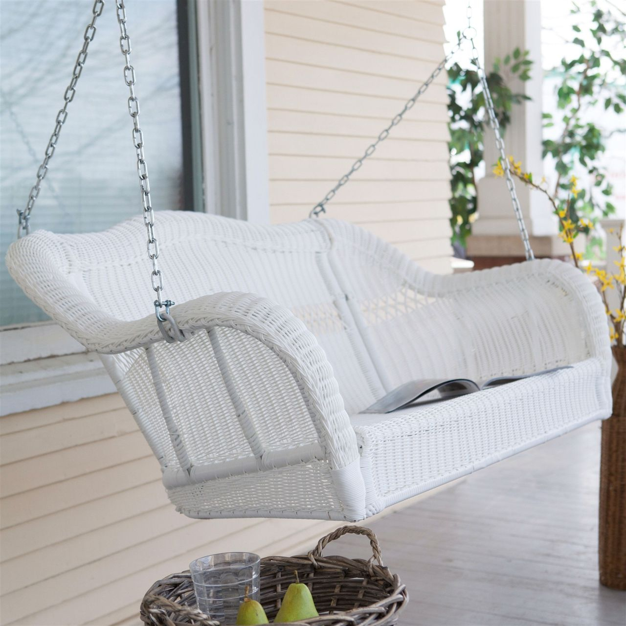 White Resin Wicker Porch Swing, Hanging Chain – 600 Lb With Regard To Porch Swings With Chain (View 6 of 25)