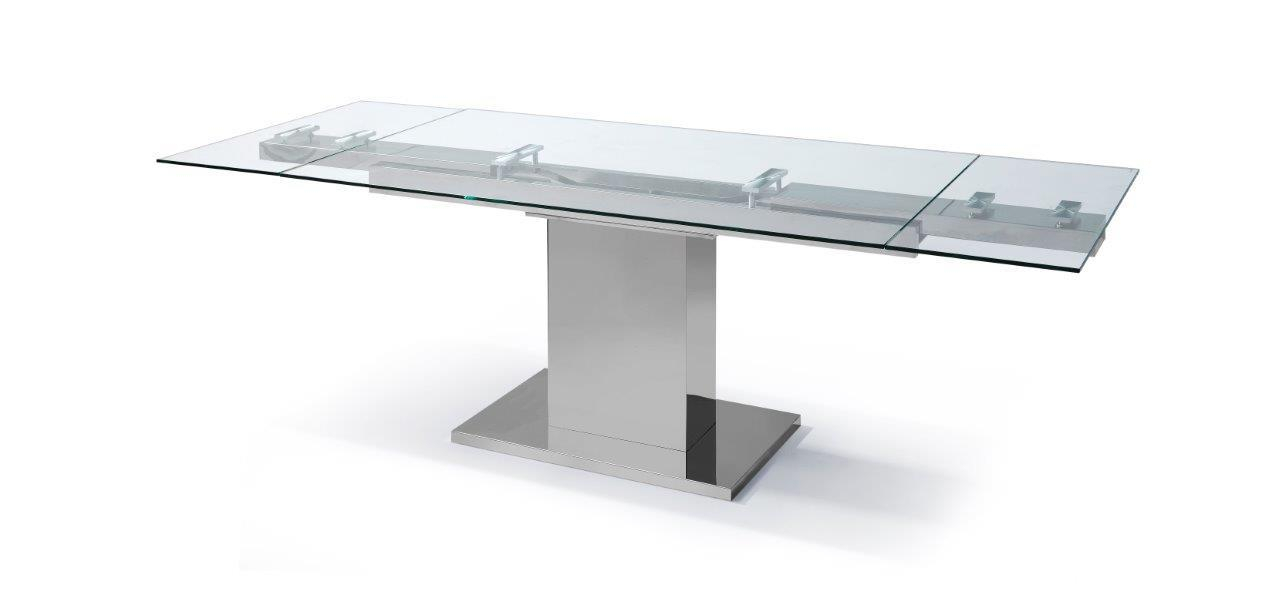 Whiteline Dt1233 In Steel And Glass Rectangle Dining Tables (View 13 of 25)