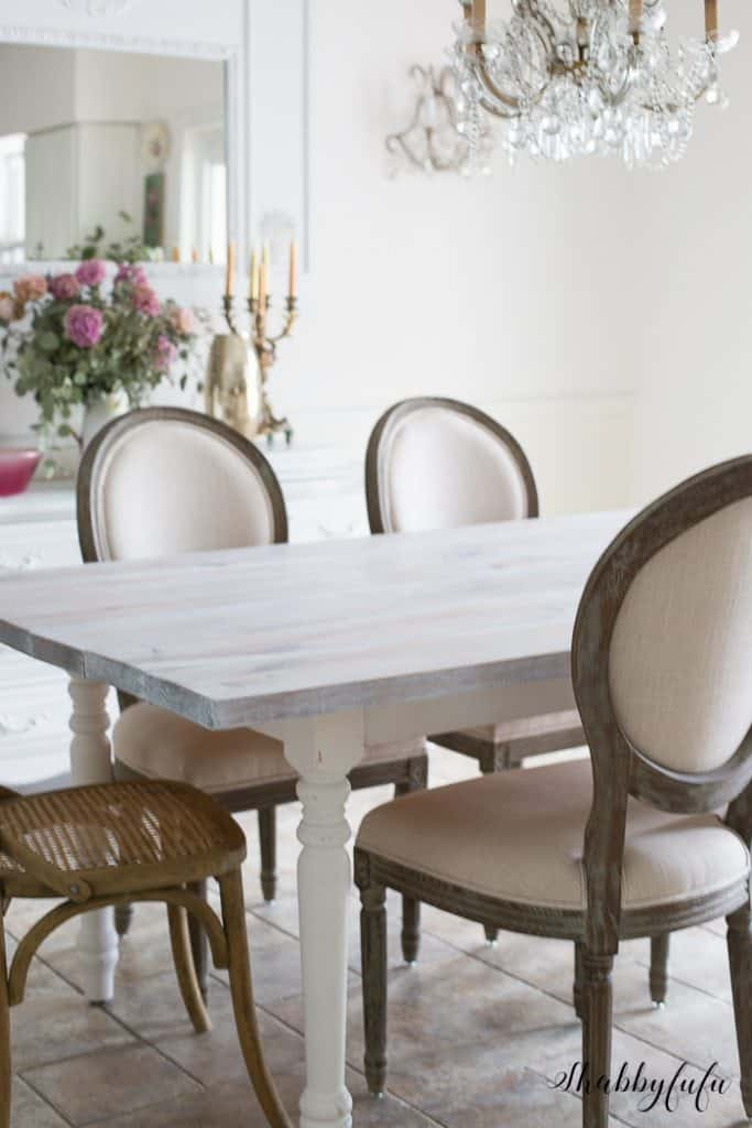 Whitewashing A Farmhouse Table In 30 Minutes – Shabbyfufu With Regard To Country Dining Tables With Weathered Pine Finish (Image 25 of 25)