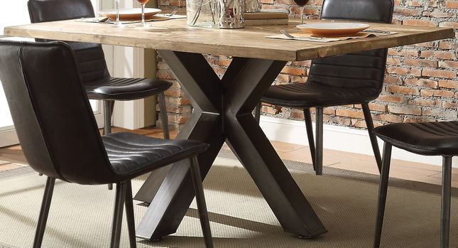 """Whitewell 64"""" Oak Wood Top Pedestal Dining Table W/metal Pertaining To Antique Black Wood Kitchen Dining Tables (View 15 of 25)"""