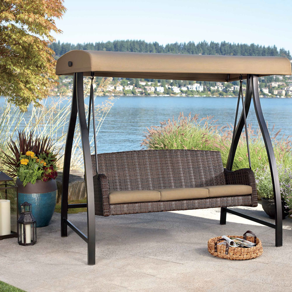 Wicker Patio Swing Set : Outdoor Decorations – Fun Patio Throughout Wicker Glider Outdoor Porch Swings With Stand (View 3 of 25)