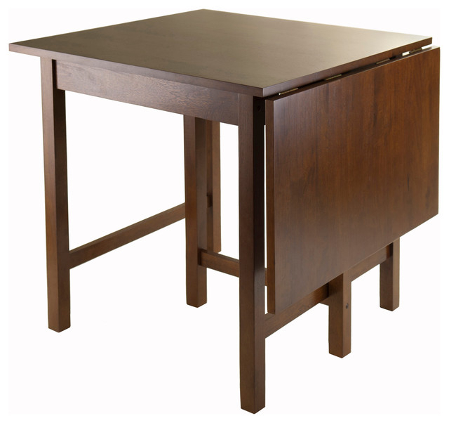 Winsome Lynden Drop Leaf Dining Table In Antique Walnut In Transitional 4 Seating Drop Leaf Casual Dining Tables (Image 25 of 25)