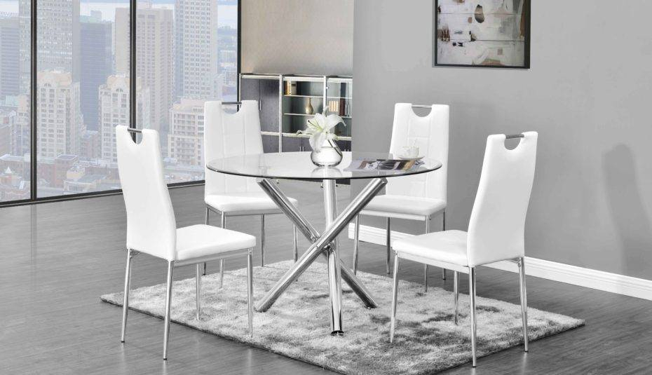 Wonderful Glass Top Dining Table Set For Round Chairs Regarding Retro Round Glasstop Dining Tables (Image 24 of 25)