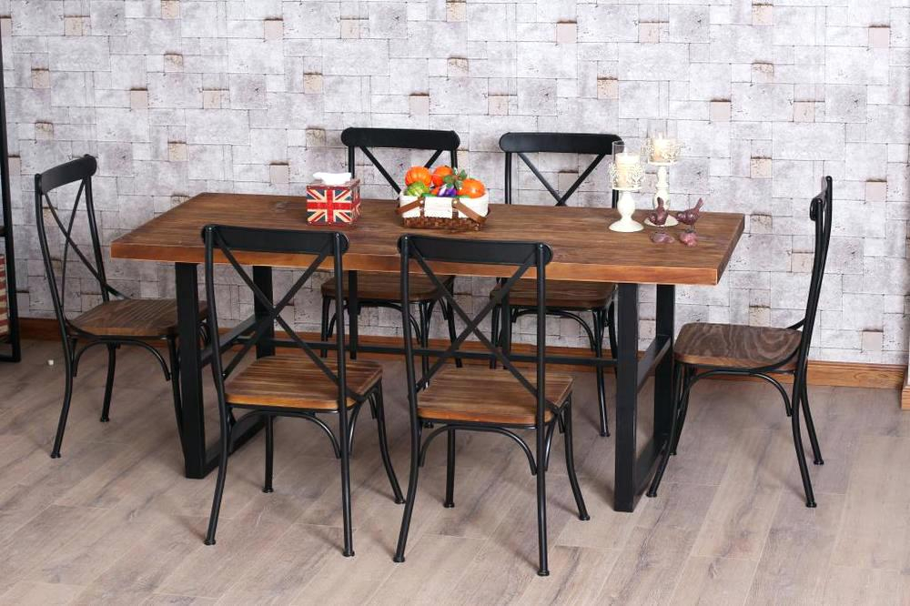 Wood And Iron Dining Table Retro Dinette Combination Of Wood Pertaining To Iron Wood Dining Tables (View 16 of 25)