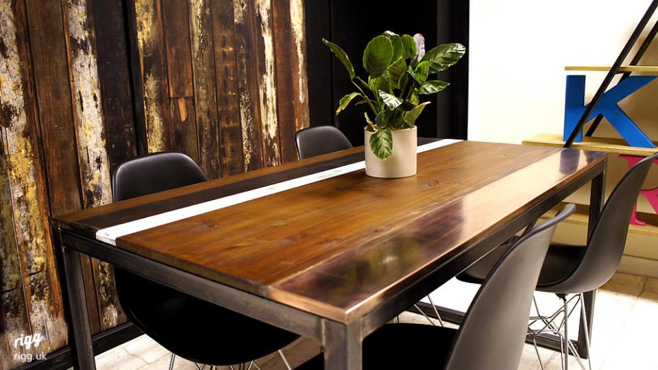 Wood & Copper Top Dining Table Pertaining To Wood Top Dining Tables (View 16 of 25)