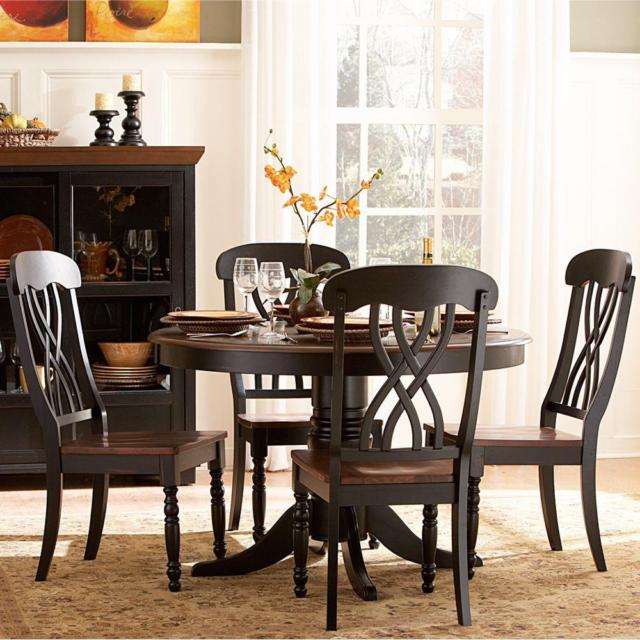 Wood Dining Set Antique Black Kitchen Round Table And Chairs 5 Piece Cherry With Antique Black Wood Kitchen Dining Tables (View 7 of 25)
