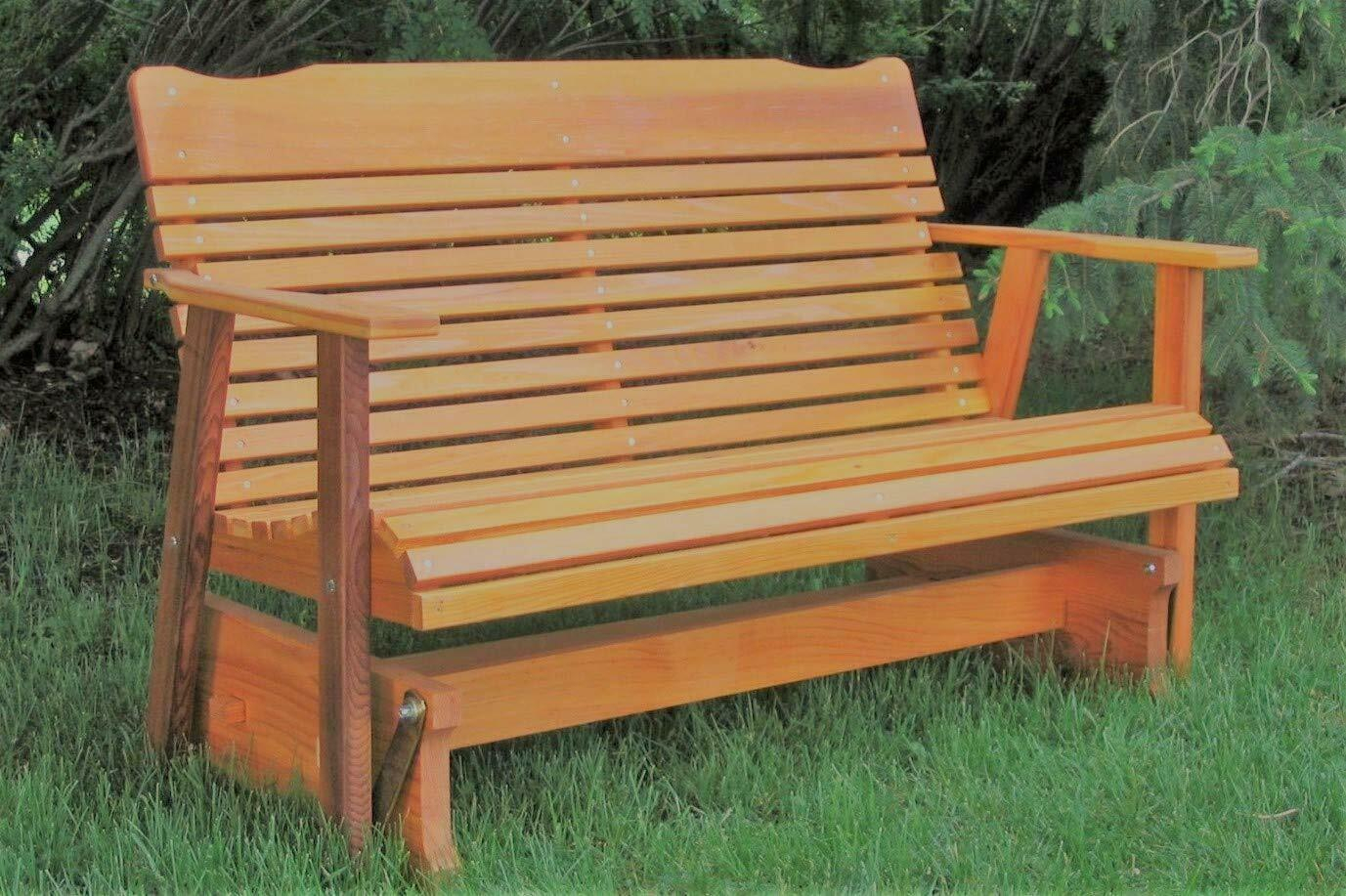 Wood Glider Bench Outdoor Patio Furniture Garden Deck Rocker Porch Amish Crafted For Hardwood Porch Glider Benches (View 4 of 25)