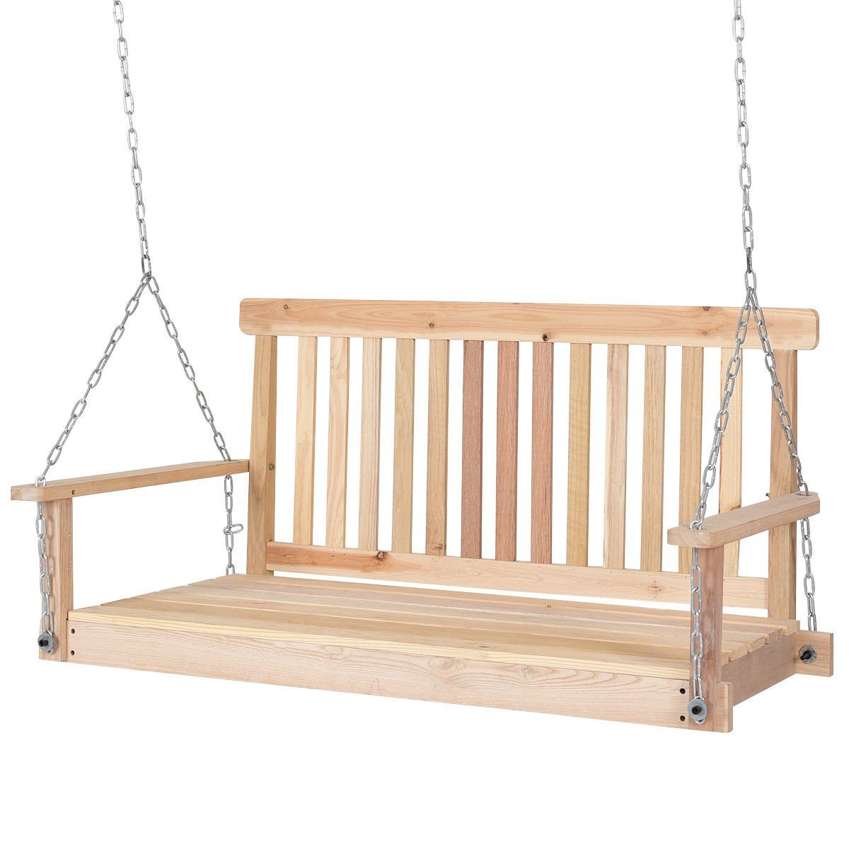 Wood Hanging Bench 2 Person Porch Loveseat | Porch Swing Regarding 2 Person Natural Cedar Wood Outdoor Swings (View 2 of 25)