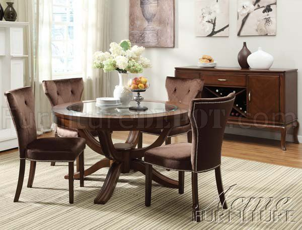 Wood Round Dining Room Set Seating 6 | Round Glass Top With Regard To Transitional 6 Seating Casual Dining Tables (View 2 of 25)