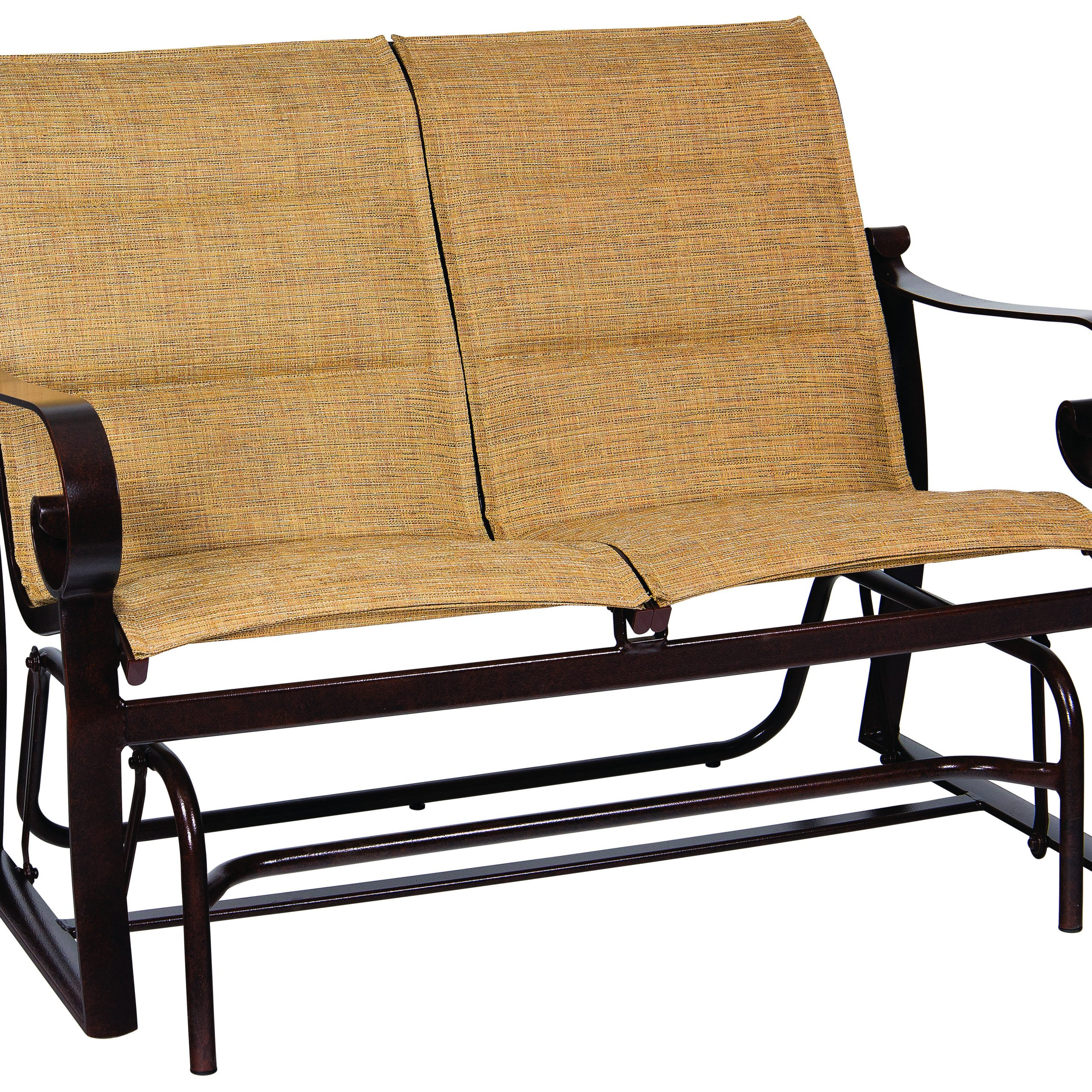Woodard Belden Padded Sling Aluminum Glider Loveseat With Padded Sling Double Glider Benches (View 14 of 25)