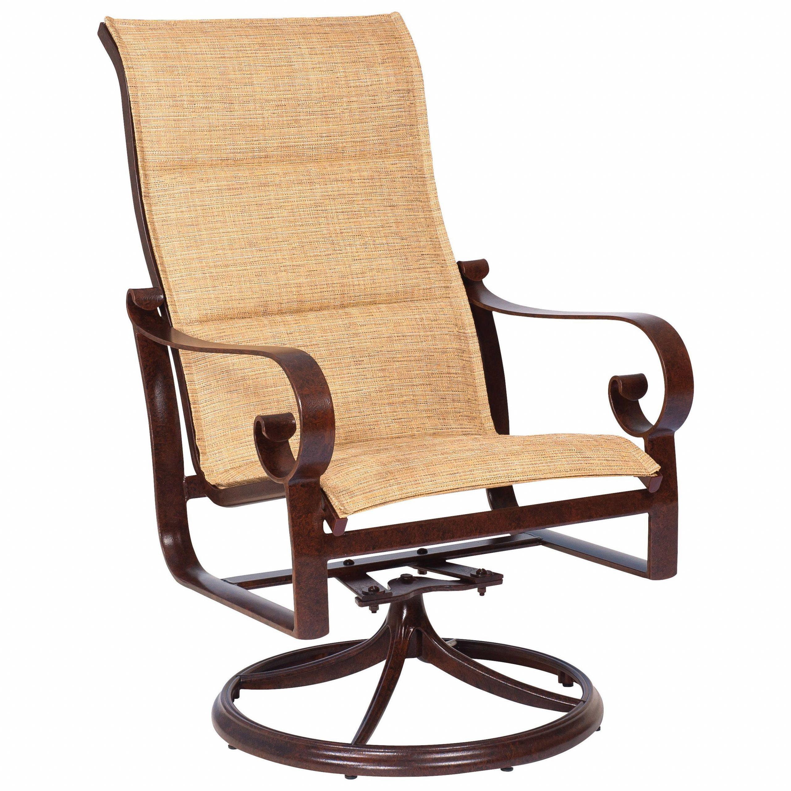 Woodard Belden Padded Sling Aluminum High Back Swivel Rocker Pertaining To Padded Sling High Back Swivel Chairs (View 2 of 25)