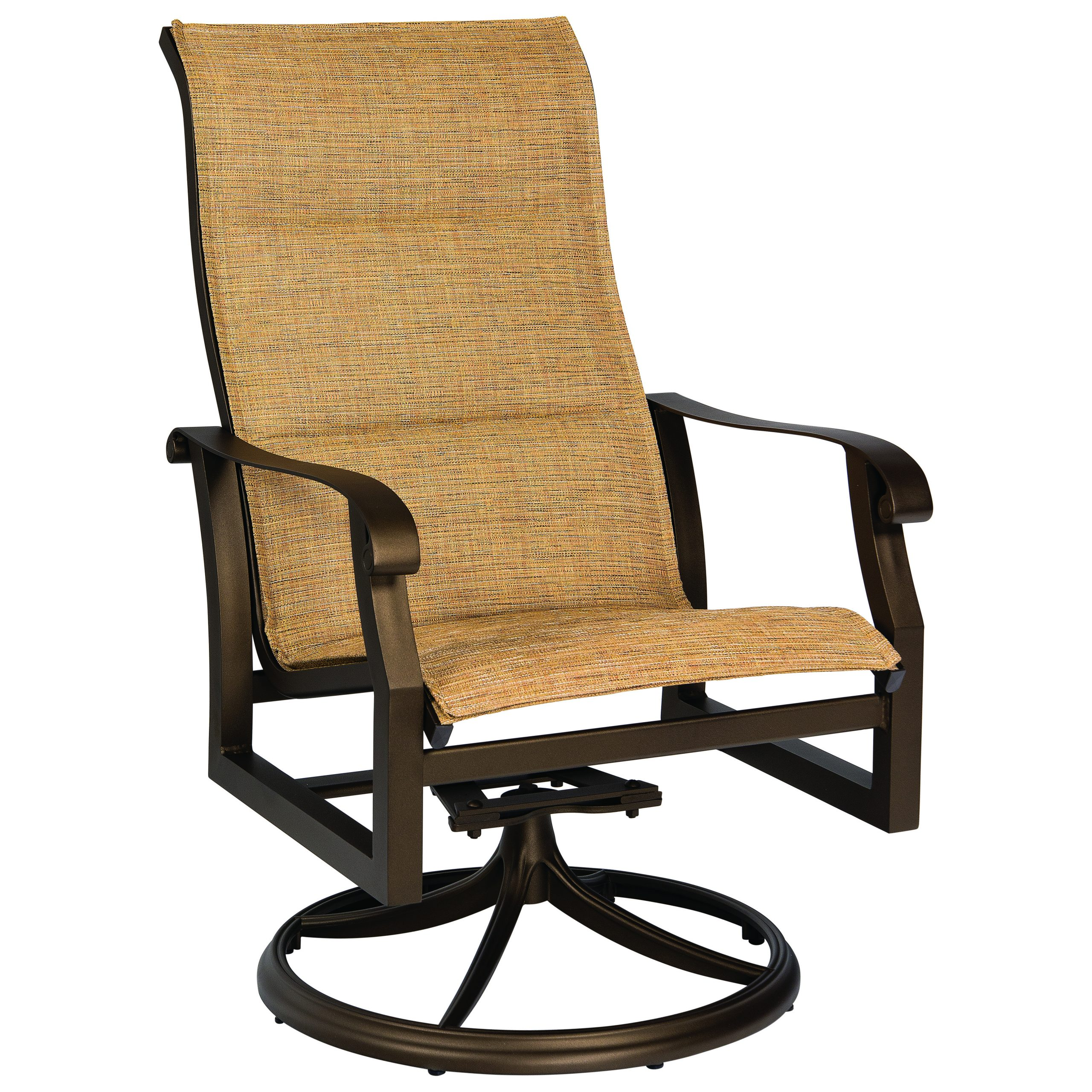 Woodard Cortland Padded Sling Aluminum High Back Swivel Rocker In Padded Sling High Back Swivel Chairs (View 4 of 25)