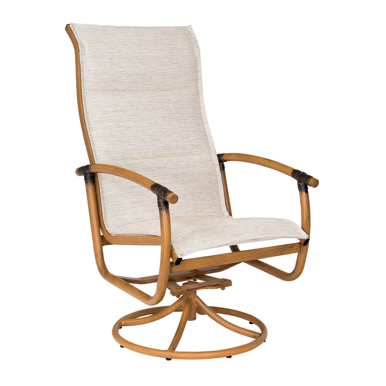 Woodard Glade Isle Padded Sling High Back Swivel Rocker Inside Padded Sling High Back Swivel Chairs (View 6 of 25)