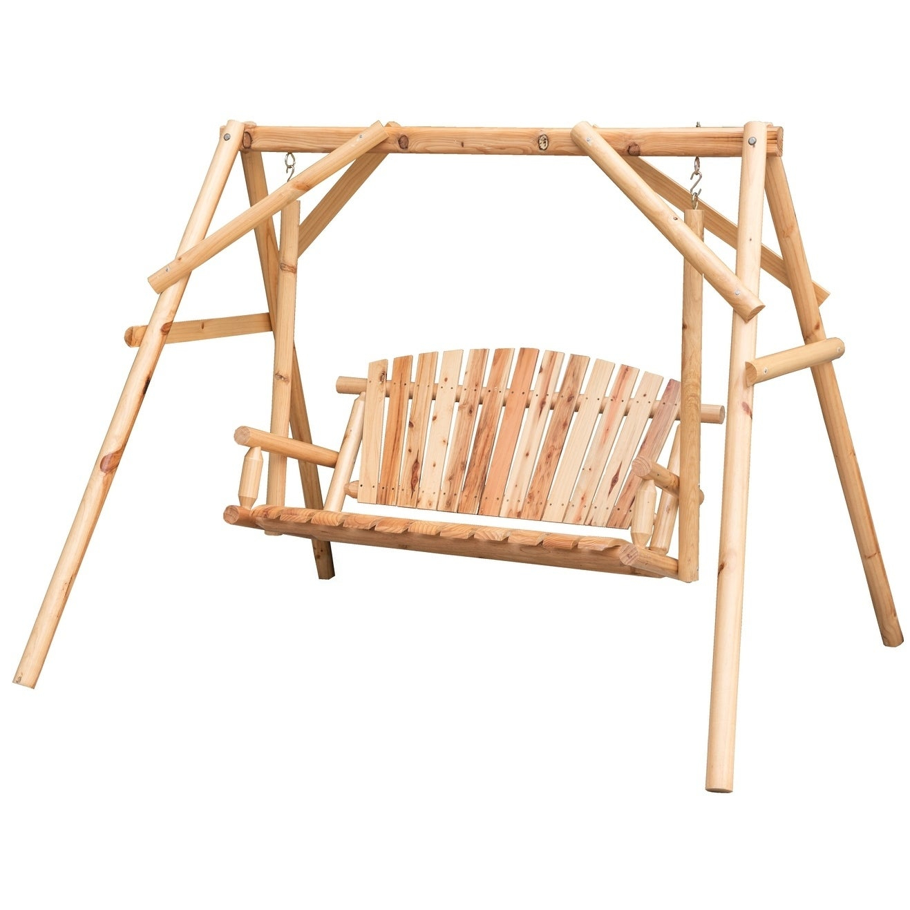 Wooden A Frame 2 Person Outdoor Porch Patio Swing Log Wood Chair Bench Pertaining To 2 Person Light Teak Oil Wood Outdoor Swings (View 10 of 25)