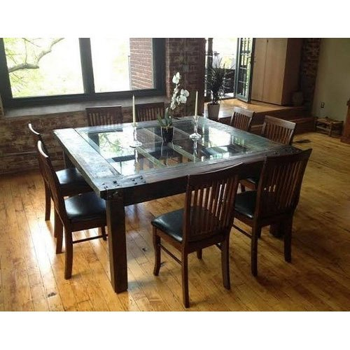 Wooden Glass Top Dining Table Set Within Wood Top Dining Tables (View 7 of 25)