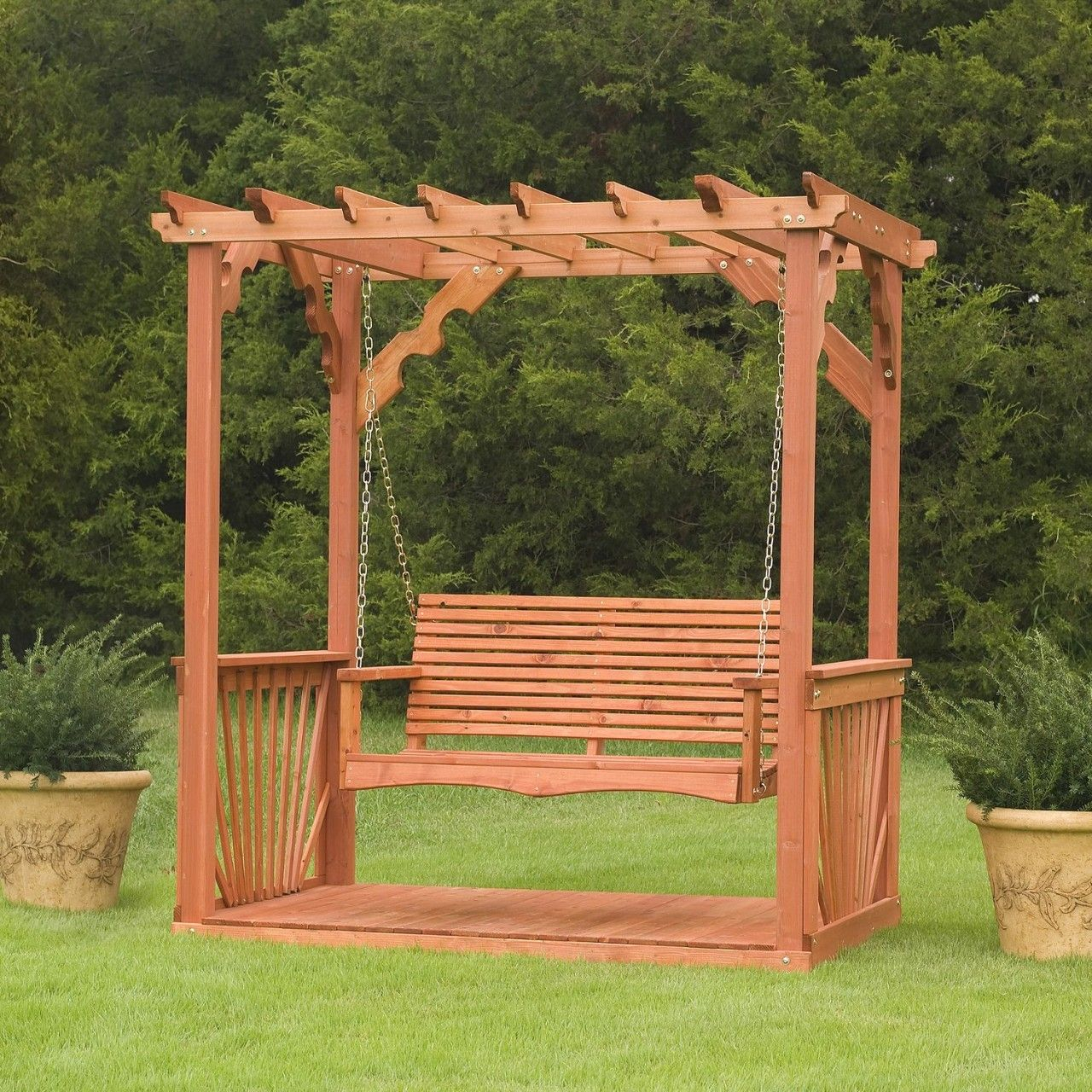 Wooden Outdoor Swings | Outdoor 7' Wooden Cedar Wood Pergola In Pergola Porch Swings With Stand (View 11 of 26)