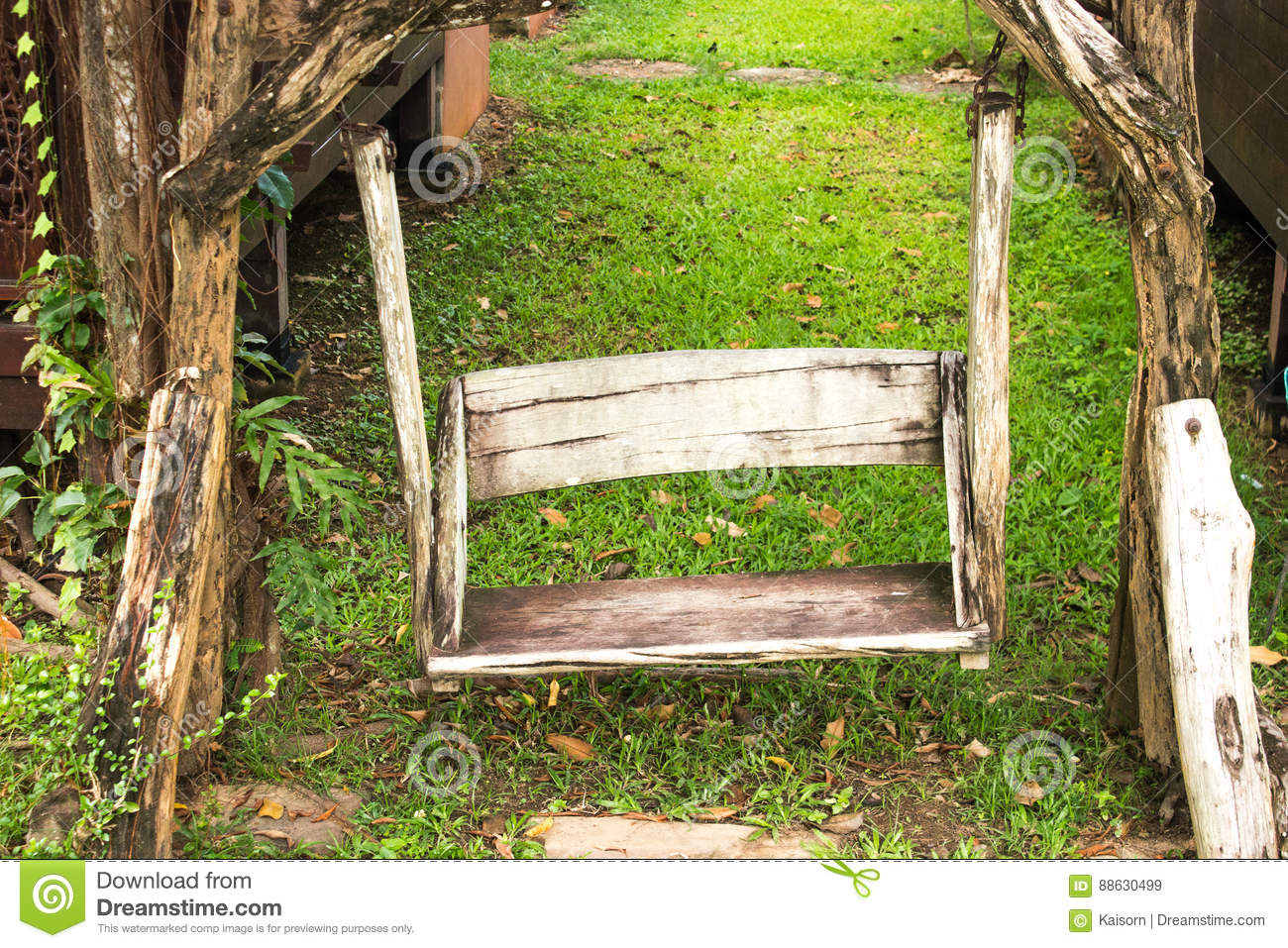 Wooden Porch Swing In Garden Stock Image – Image Of Garden Intended For Vineyard Porch Swings (Image 25 of 25)