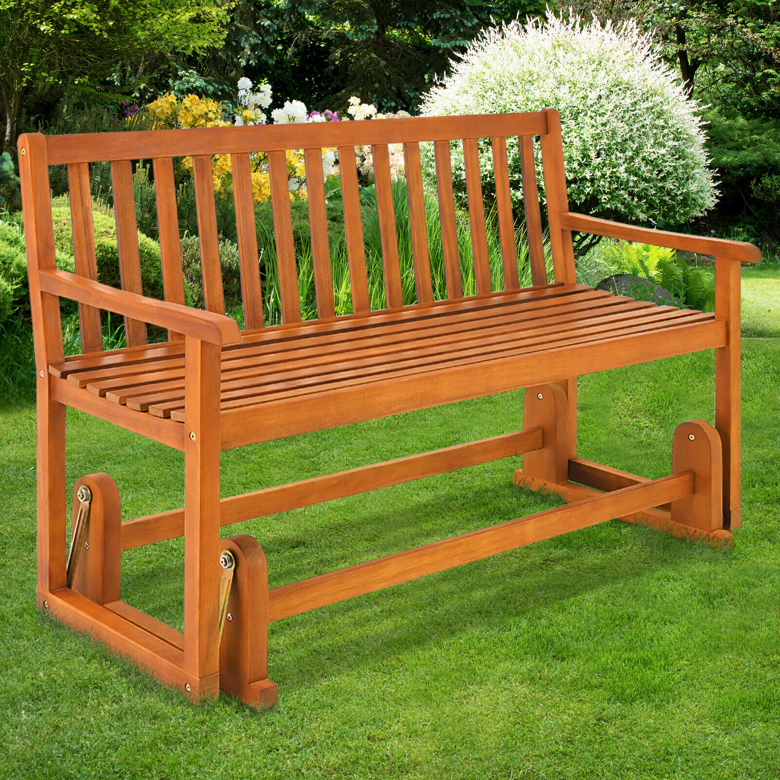 Wooden Swinging Seater Bench Garden Outdoor Rocking Glider Benches Made Of Pertaining To Rocking Glider Benches (View 13 of 25)