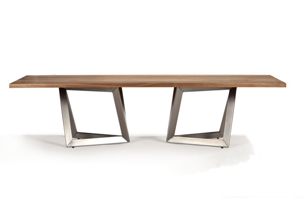 Wooden Top #metal #leg #dining #table #simple #modern For Acacia Wood Dining Tables With Sheet Metal Base (Image 25 of 25)